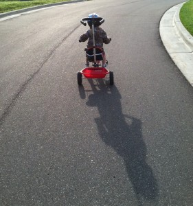Keegan on bike