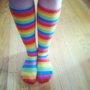 Showtime Rainbow Knee Socks