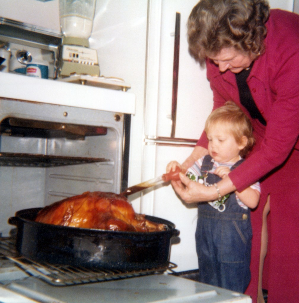 My Great Grandma and David Cooking Turkey.