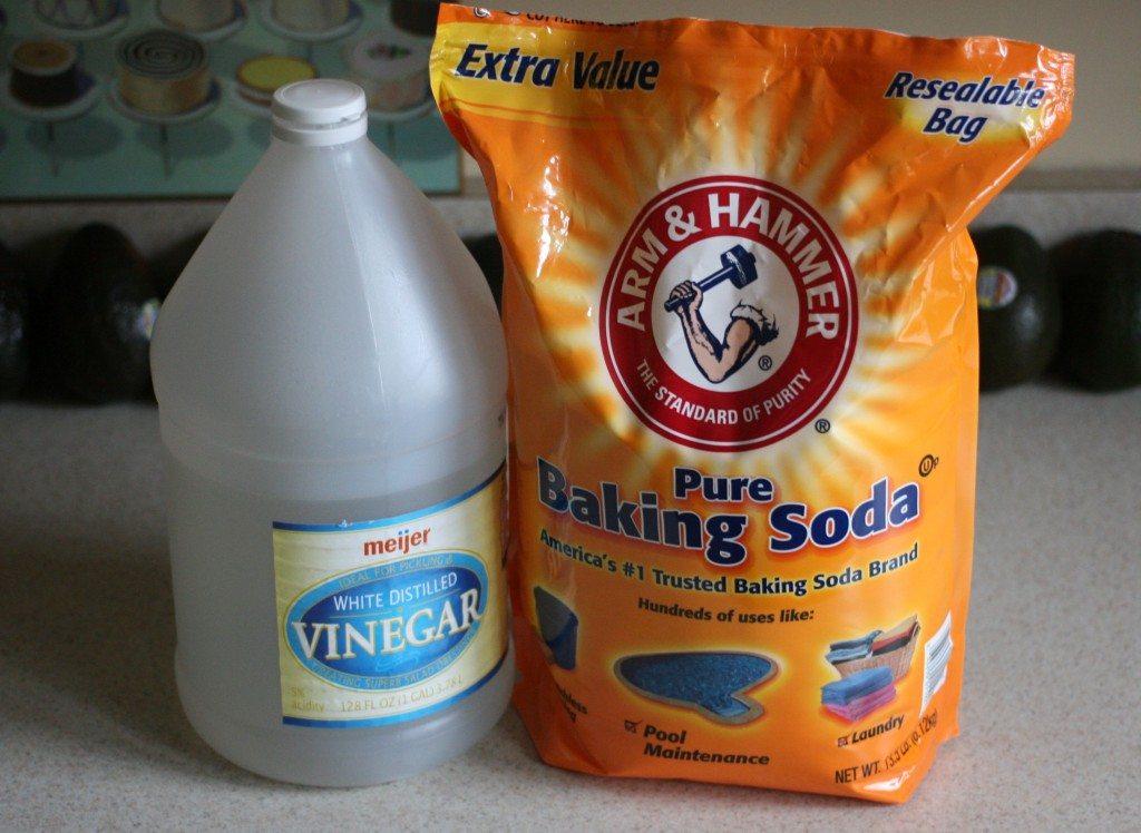 Vinegar and baking soda can be used in combination to thoroughly clean and freshen your washing machine. Set your washing machine on the hot water cycle at the largest load setting, then add three or four cups of white vinegar.