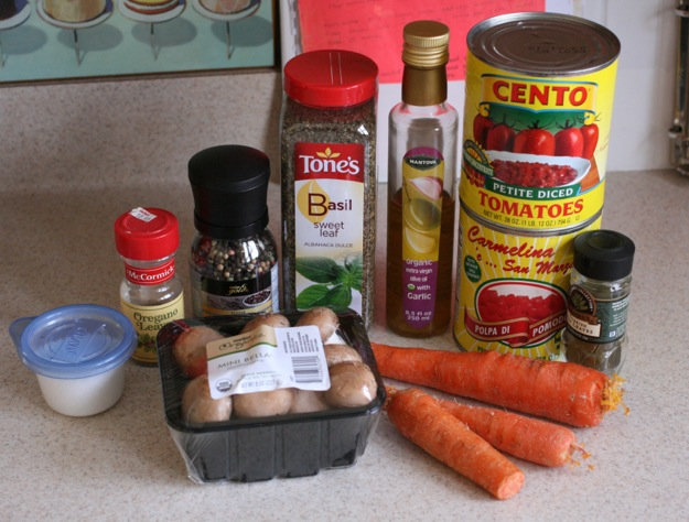 Photo of ingredients for home made pasta sauce.