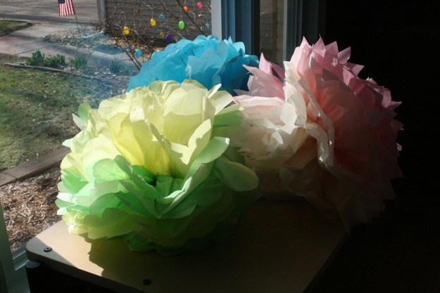Photo of home made tissue paper flowers.