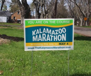 Photo of the 2014 Kalamazoo Marathon yard signs.