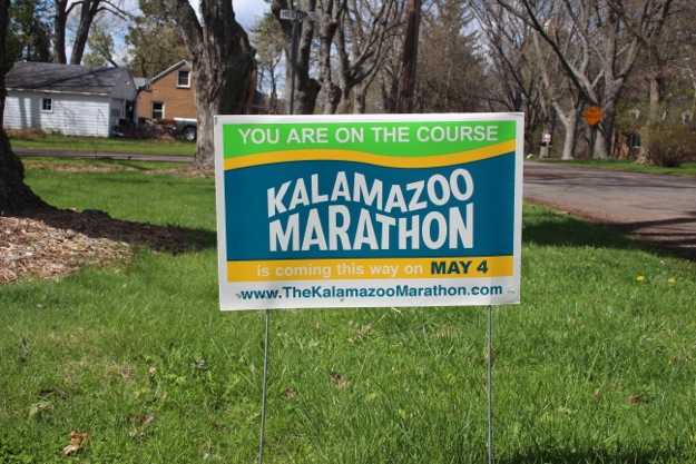 Our Kalamazoo Marathon Yard Bling.