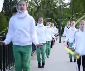 Photograph of girls jumping rope.