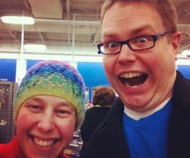 Photo of Nicole and Michael at the supermarket.